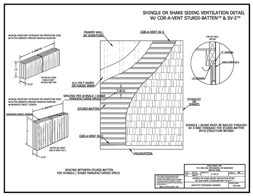 Sturdi-Batten shingle or shake sidingventilation detail